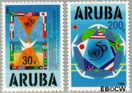 Aruba AR 154#155  1995 Verenigde Naties  cent  Gestempeld
