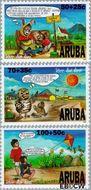 Aruba AR 185#187  1996 Kind en dier  cent  Gestempeld