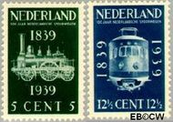 Nederland NL 325#326  1939 Spoorwegjubileum   cent  Gestempeld