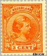 Nederland NL 34  1891 Koningin Wilhelmina- 'Hangend haar' 3 cent  Gestempeld