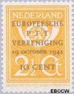 Nederland NL 404  1943 Europese P.T.T. Vereniging 10#2½ cent  Gestempeld