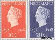 Nederland NL 504#505  1948 Koningin Wilhelmina- Regeringsjubileum   cent  Postfris