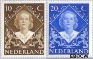 Nederland NL 506#507  1948 Koningin Juliana- Inhuldiging   cent  Gestempeld