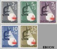 Nederland NL 661#665  1955 Kankerbestrijding   cent  Gestempeld