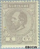 Suriname SU 1  1885 Eerste emissie 1 cent  Gestempeld