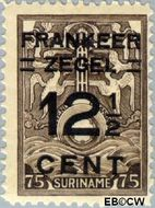 Suriname SU 132  1927 Opruimingsuitgifte 12½ op 75 cent  Gestempeld