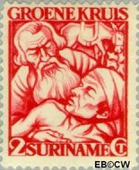 Suriname SU 142  1929 Groene Kruis 2+2 cent  Gestempeld