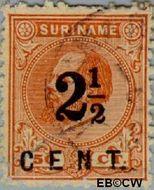 Suriname SU 21  1892 Hulpuitgifte 2½ cent  Gestempeld