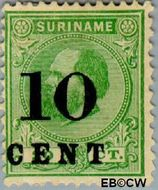 Suriname SU 31  1898 Hulpuitgifte 10 op 20 cent  Gestempeld