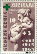 Suriname SU 421  1965 Groene Kruis 10+5 cent  Gestempeld