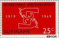 Suriname SU 521  1969 I.L.O. 25 cent  Gestempeld