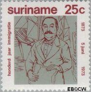 Suriname SU 601  1973 Brits-Indische immigratie 25 cent  Gestempeld
