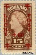 Suriname SU LP28  1946 Koningin Juliana 15+60 op 15 cent  Gestempeld