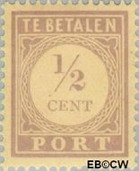 Suriname SU PT17  1913 Port ½ cent  Gestempeld