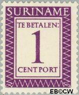Suriname SU PT47  1956 Port 1 cent  Gestempeld