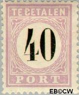 Suriname SU PT7  1886 Port 40 cent  Gestempeld