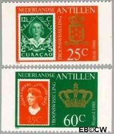 Nederlandse Antillen NA 654a#655a  1980 Inhuldiging koningin Beatrix 75 cent  Postfris