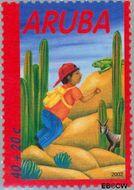 Aruba AR 291  2002 Kind en dieren 40+20 cent  Gestempeld