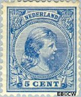 Nederland NL 35  1891 Koningin Wilhelmina- 'Hangend haar' 5 cent  Gestempeld