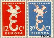 Nederland NL 713#714  1958 C.E.P.T.- Letter 'E'   cent  Gestempeld