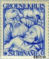 Suriname SU 143  1929 Groene Kruis 5+3 cent  Gestempeld