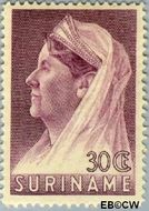 Suriname SU 173  1936 Wilhelmina met sluier 30 cent  Gestempeld