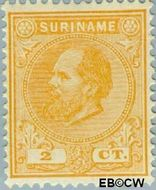 Suriname SU 2  1885 Eerste emissie 2 cent  Gestempeld