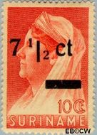Suriname SU 213  1945 Koningin Wilhelmina 7½ op 10 cent  Gestempeld