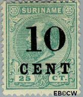 Suriname SU 32  1898 Hulpuitgifte 10 op 25 cent  Gestempeld