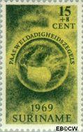 Suriname SU 512  1969 Paasgedachte 15+8 cent  Gestempeld