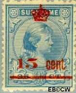 Suriname SU 62  1911 Hulpuitgifte 15 op 25 cent  Gestempeld