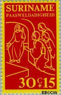 Suriname SU 642  1975 Bijbelse voorstellingen 30+15 cent  Gestempeld