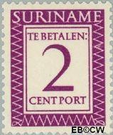Suriname SU PT48  1956 Port 2 cent  Gestempeld
