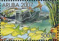 Aruba AR 380d  2007 Wrakken in het rif 500 cent  Gestempeld