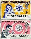 Gibraltar gib 215#216  1968 W.H.O.  Postfris