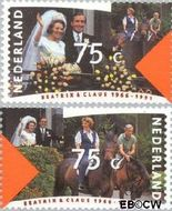 Nederland NL 1466#1467  1991 Koningin Beatrix en Prins Claus- Huwelijksjubileum  cent  Gestempeld