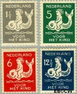Nederland NL 225#228  1929 Kind op dolfijn   cent  Postfris