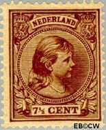 Nederland NL 36  1891 Koningin Wilhelmina- 'Hangend haar' 7½ cent  Gestempeld
