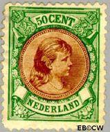 Nederland NL 45  1893 Koningin Wilhelmina- 'Hangend haar' 50 cent  Gestempeld