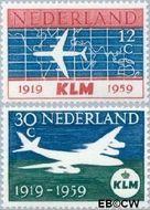 Nederland NL 729#730  1959 K.L.M.   cent  Gestempeld