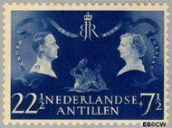 Nederlandse Antillen NA 254  1955 Koninklijk bezoek 22½+7½ cent  Gestempeld