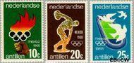 Nederlandse Antillen NA 393#395  1968 Olympische Spelen- Mexico 20 cent  Gestempeld