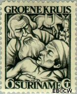 Suriname SU 144  1929 Groene Kruis 6+4 cent  Gestempeld