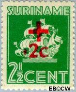 Suriname SU 204  1942 Scheepje 2½+2 cent  Gestempeld