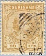 Suriname SU 23  1892 Hangend haar 10 cent  Gestempeld