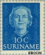 Suriname SU 285  1951 Type 'En Profile' 10 cent  Gestempeld