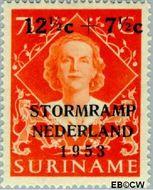 Suriname SU 295  1953 Stormramp Nederland 12½+7½ op 7½ cent  Gestempeld