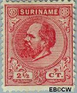 Suriname SU 3  1873 Eerste emissie 2½ cent  Gestempeld