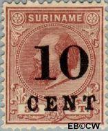 Suriname SU 33  1898 Hulpuitgifte 10 op 30 cent  Gestempeld