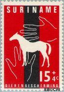 Suriname SU 393  1962 Dierenbescherming 15+4 cent  Gestempeld